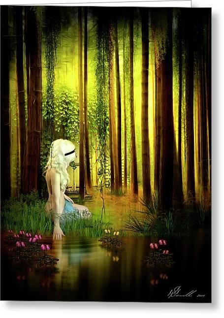 Fantasy Tree Mixed Media Greeting Cards - Dawn Refresh Greeting Card by Svetlana Sewell