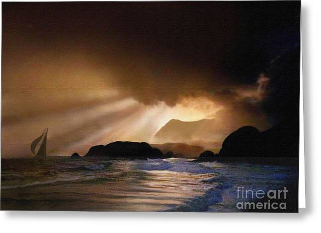 Storm Prints Digital Art Greeting Cards - Dawn Sail Greeting Card by Robert Foster