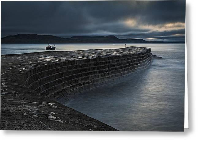 Fishing Boats Photographs Greeting Cards - Dawn, The Cobb Greeting Card by Stuart Crump