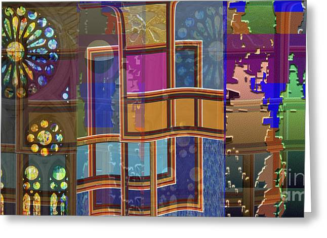 Day And Night Collage Photography Abstract Art From Church Walls Moon Hightide N Graphic Window View Greeting Card by Navin Joshi