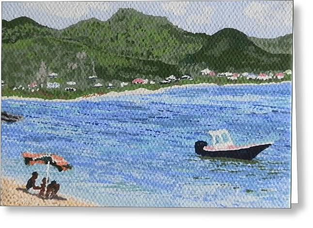St Margaret Paintings Greeting Cards - Day at the Beach Greeting Card by Margaret Brooks