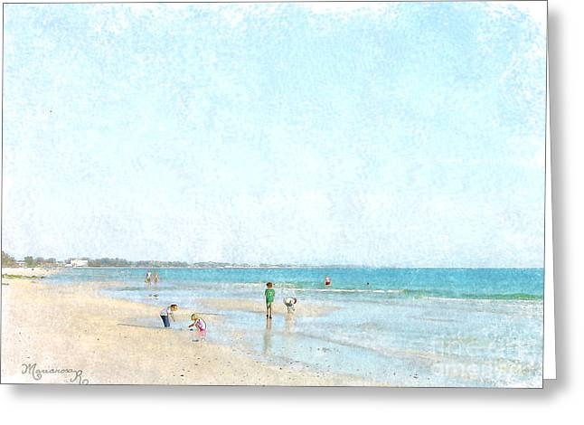 Sand Castles Greeting Cards - Day at the Beach Greeting Card by Mariarosa Rockefeller