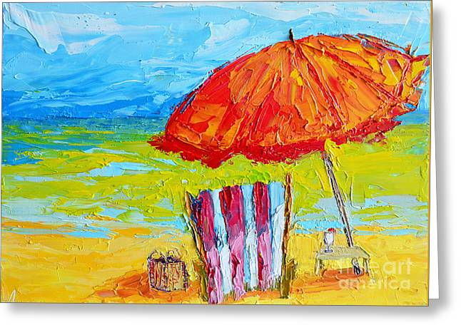 Day At The Beach - Modern Impressionist Knife Palette Oil Painting Greeting Card by Patricia Awapara