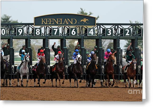 Keeneland Greeting Cards - Keeneland Race Day Greeting Card by Angela Gallagher