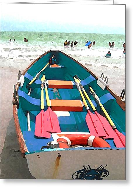 Ocean Shore Mixed Media Greeting Cards - Day at the Shore Greeting Card by Paul Barlo