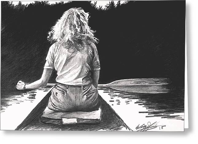 Canoe Drawings Greeting Cards - Day Dream Greeting Card by William Kelsey