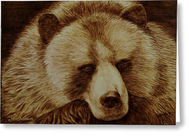 Log Pyrography Greeting Cards - Day Dreamer Greeting Card by Jo Schwartz