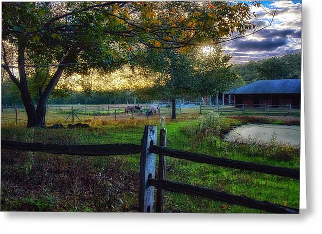 Barn Yard Greeting Cards - Day Is Nearly Done Greeting Card by Tricia Marchlik