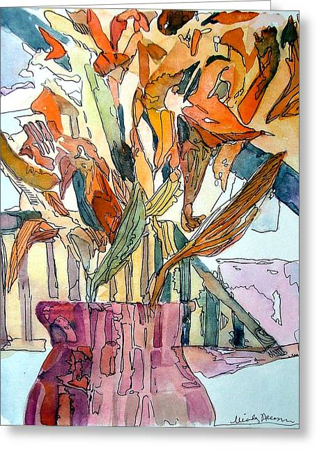 Transparent Mixed Media Greeting Cards - Day Lilies in a Rose Vase Greeting Card by Mindy Newman
