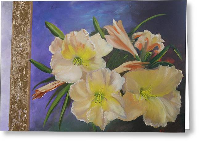 Day Lilies With Gold Leaf Painting by Mark Perry