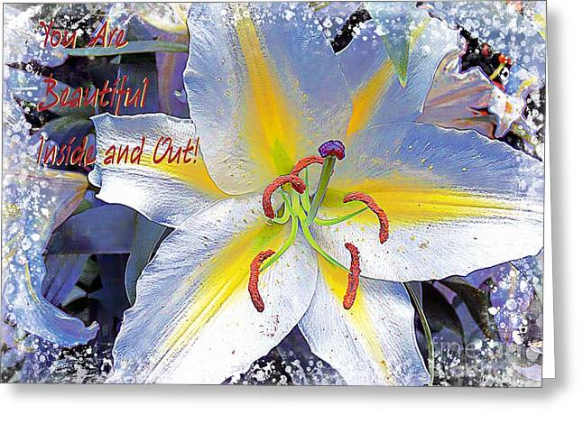 Inside You Greeting Cards - Day Lily Beauty Greeting Card by Gena Weiser