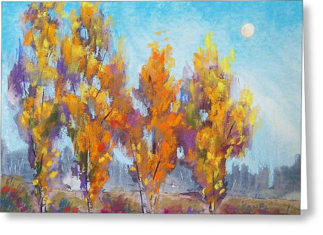Autumn Pastels Greeting Cards - Day Lit Moon Greeting Card by Christine Camp