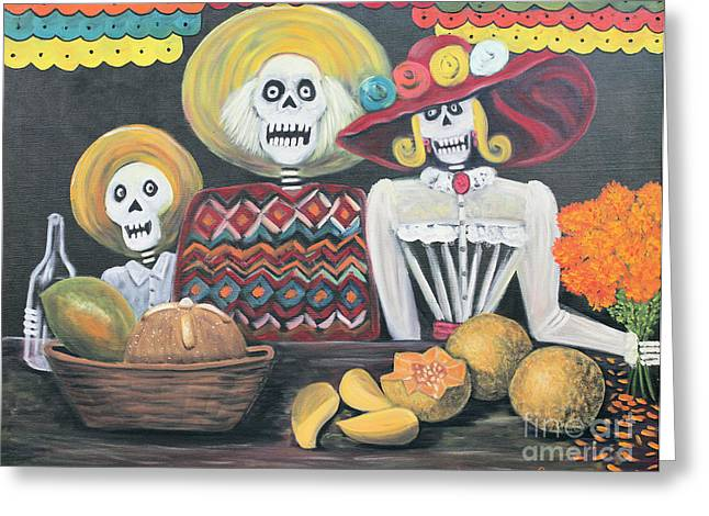 Independence Day Mixed Media Greeting Cards - Day of the Dead Family Greeting Card by Sonia Flores Ruiz
