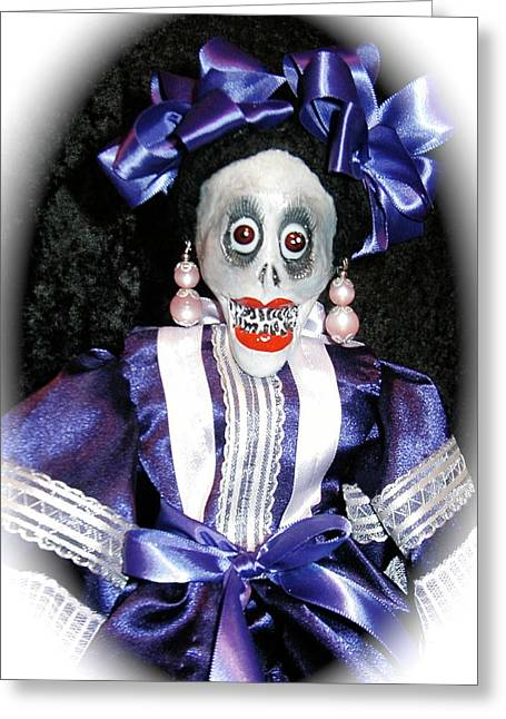 Celebration Sculptures Greeting Cards - Day of the Dead folk puppet Greeting Card by Joie Morillo