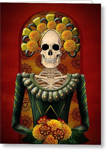 Marigold Festival Greeting Cards - Day of the Dead Series- Catrina Greeting Card by Audie Case