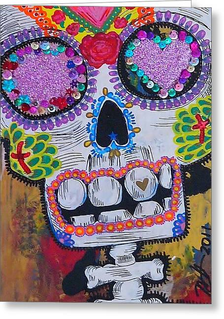 Best Sellers -  - Cardboard Greeting Cards - Day of the Dead Skeleton  Greeting Card by Nancy Mitchell