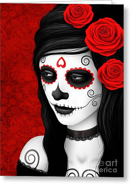 Women With Roses Greeting Cards - Day of the Dead Sugar Skull Woman with Red Roses  Greeting Card by Jeff Bartels