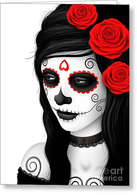 Women With Roses Greeting Cards - Day of the Dead Sugar Skull Woman with Red Roses on White Greeting Card by Jeff Bartels