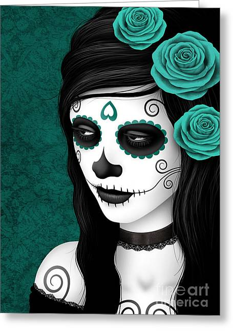 Women With Roses Greeting Cards - Day of the Dead Sugar Skull Woman with Teal Blue Roses Greeting Card by Jeff Bartels