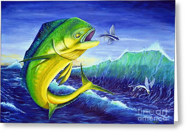 Blue Green Wave Greeting Cards - Day of the Dolphin Greeting Card by Shelly Tschupp