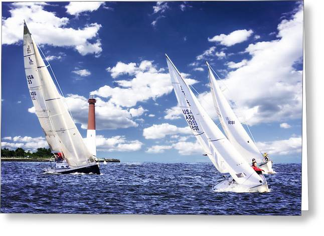 Blue Sailboats Greeting Cards - Day Sailing -1 Greeting Card by Alan Hausenflock