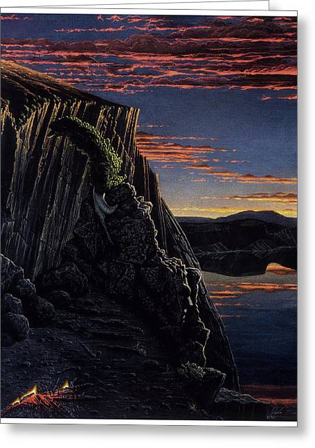 Craters Pastels Greeting Cards - Daybreak at Llao Rock Greeting Card by John  Baehr