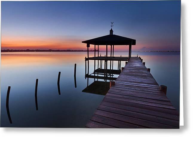 Ocean. Reflection Greeting Cards - Daybreak Greeting Card by Debra and Dave Vanderlaan