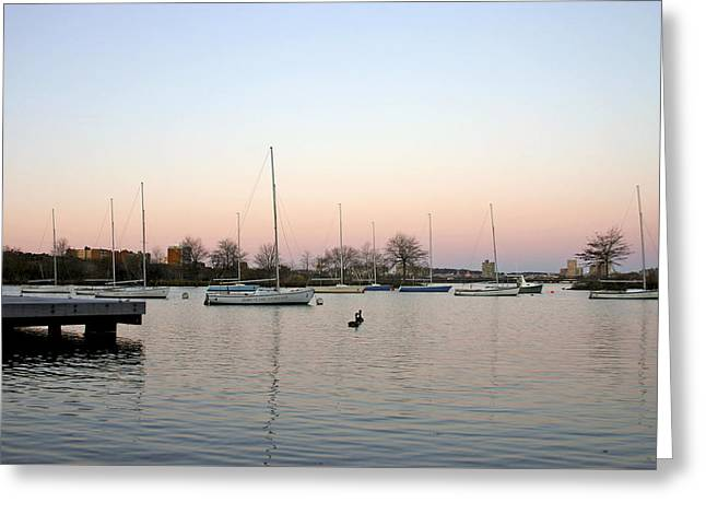 Lessons Greeting Cards - Daybreak in Bostons Inner Harbor Greeting Card by Wendy Raatz Photography