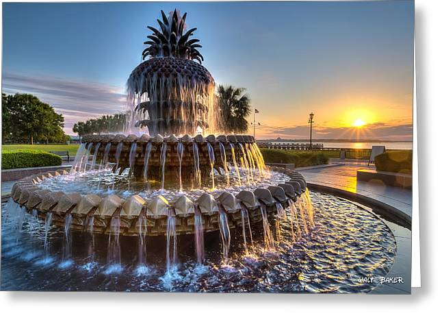 Low-country Greeting Cards - Daybreak in Charleston Greeting Card by Walt  Baker