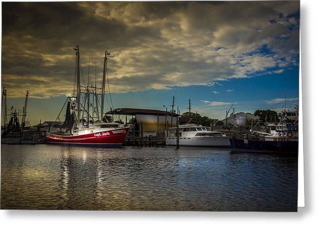 Shrimp Boat Captains Greeting Cards - Daybreak On The Captain Jack Greeting Card by Marvin Spates