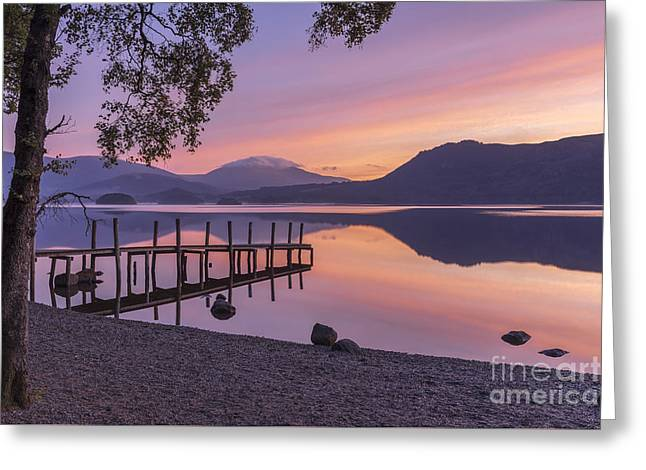 Woodland Scenes Greeting Cards - Daybreak Over Derwent Water Greeting Card by John Potter