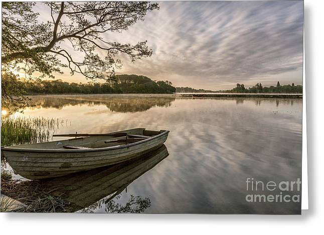 Daybreak Over Lake Of Menteith Trossachs Scotland Greeting Card by John Potter