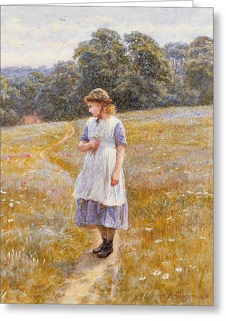 Daydreamer Greeting Card by Helen Allingham