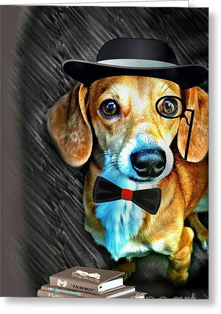 Love The Animal Greeting Cards - Daydreaming Dachshund Doggie Esquire Greeting Card by PrettTea Art Gallery  By Teaya Simms