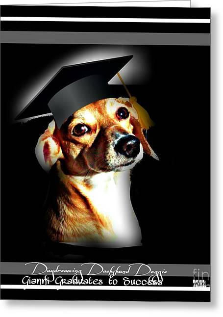 Puppies Mixed Media Greeting Cards - Daydreaming Dachshund Doggie Gianni Graduates  Greeting Card by PrettTea Art Gallery  By Teaya Simms