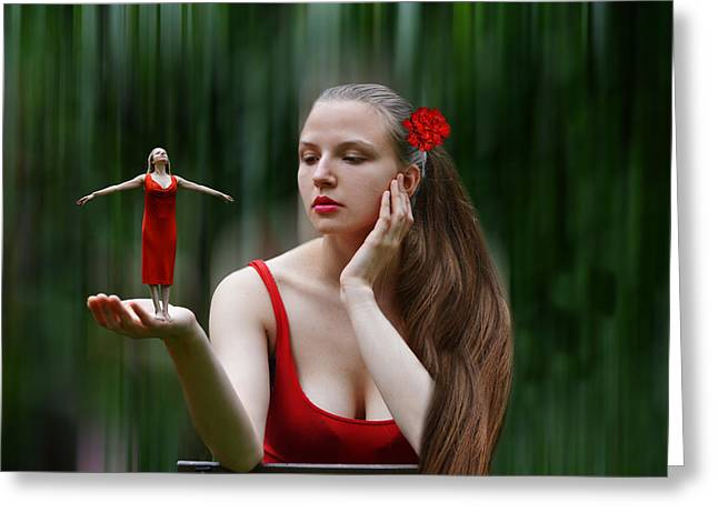 Pensive Greeting Cards - Daydreaming Greeting Card by Ludmila SHUMILOV