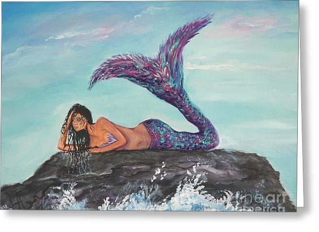 Daydreaming Mermaid Greeting Card by Leslie Allen