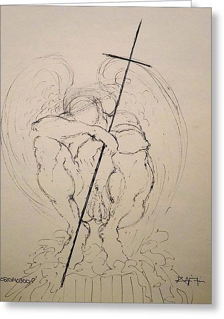 True Cross Drawings Greeting Cards - Daydreaming of the return to Love Greeting Card by Giorgio Tuscani