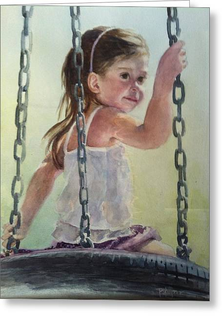 Child Swinging Paintings Greeting Cards - Daydreaming Greeting Card by Pat Harper