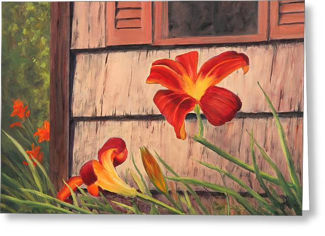 Daylilies at the Shed Greeting Card by Elaine Farmer