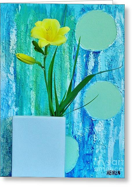 Blue And Green Greeting Cards - Daylily During Day Greeting Card by Marsha Heiken