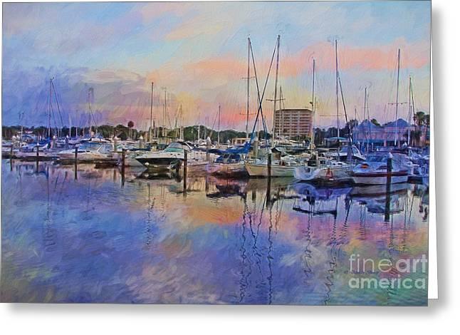 Topaz Greeting Cards - Daytona Boat Docks Greeting Card by Deborah Benoit