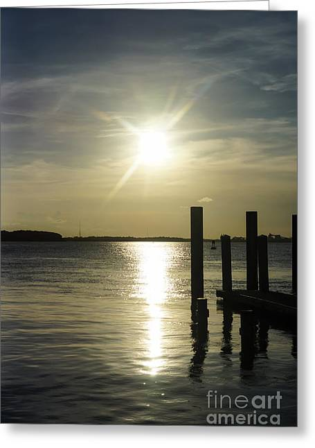 Sunset Greeting Cards Greeting Cards - Days End at Cooper River Greeting Card by Jennifer White