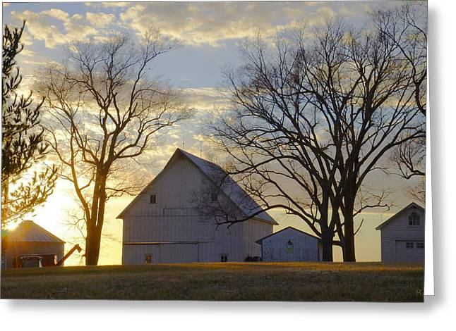 Christine Belt Greeting Cards - Days End at the Farm Greeting Card by Christine Belt