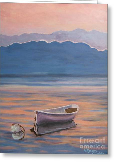 Boats On Water Greeting Cards - Days End Greeting Card by Nancy Rucker