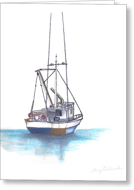 Water Vessels Drawings Greeting Cards - Days End Greeting Card by Terry Frederick