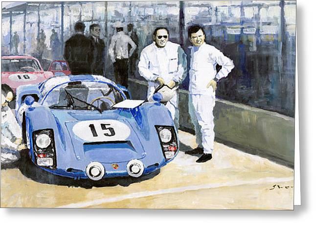 Realism Greeting Cards - Daytona 1966 Porsche 906 Herrmann-Linge Greeting Card by Yuriy  Shevchuk