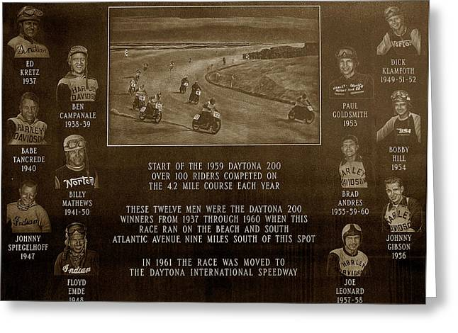 Bike Race Greeting Cards - Daytona 200 Plaque Greeting Card by David Lee Thompson