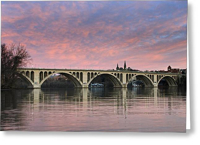Pink Skies Greeting Cards - DC Sunrise over the Potomac River Greeting Card by Brendan Reals