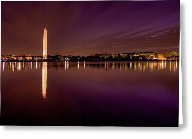 Patriot League Greeting Cards - DC Tidal Basin Pre-Dawn Greeting Card by David Hahn